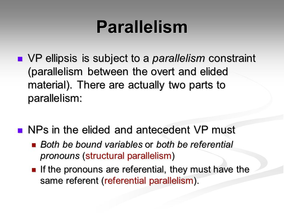 Parallelism VP ellipsis is subject to a parallelism constraint (parallelism between the overt and elided material).