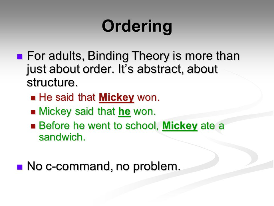 Ordering For adults, Binding Theory is more than just about order.
