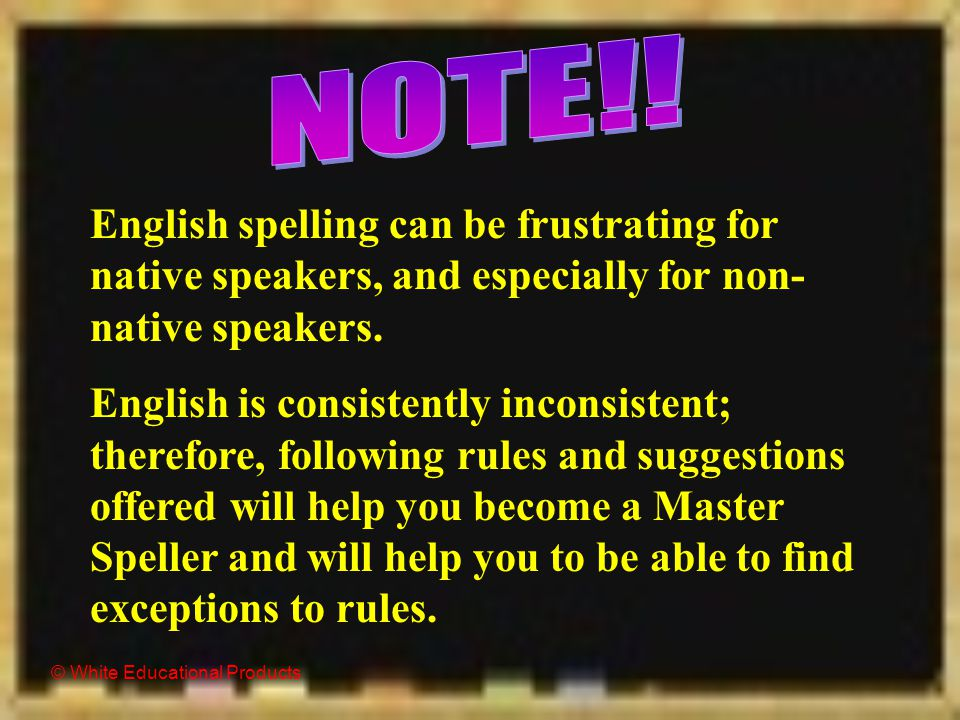 © White Educational Products Be a Master Speller: Follow the Rules