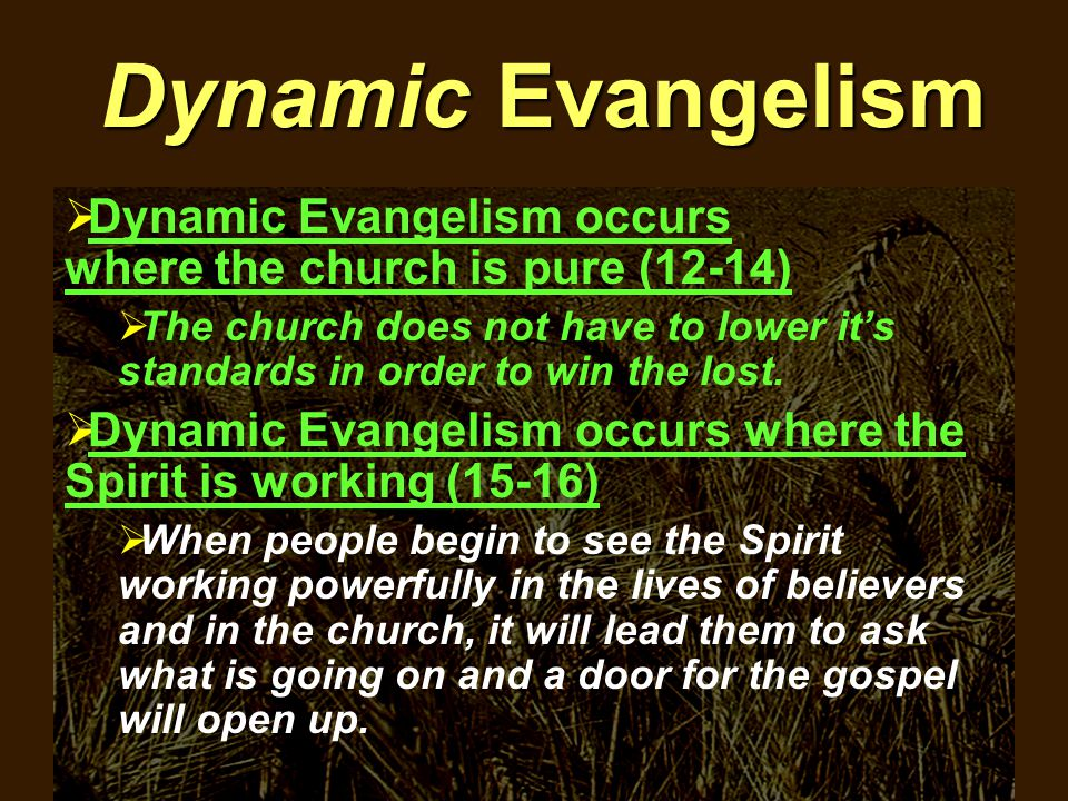 Dynamic Evangelism  Dynamic Evangelism occurs where the church is pure (12-14)  The church does not have to lower it's standards in order to win the lost.