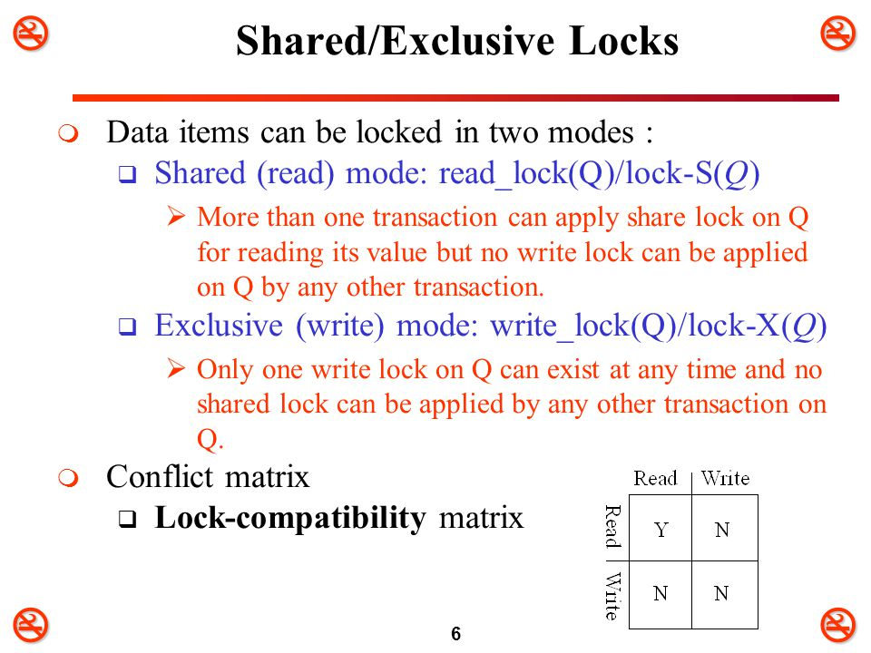 6 Shared/Exclusive Locks  Data items can be locked in two modes :  Shared (read) mode: read_lock(Q)/lock-S(Q)  More than one transaction can ap