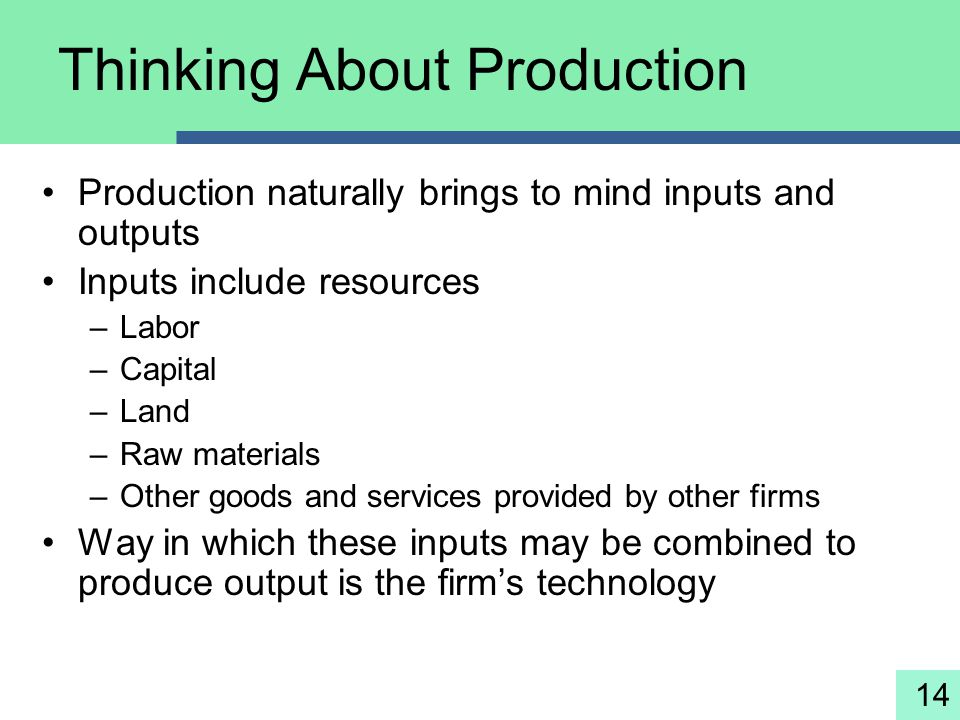 14 Thinking About Production Production naturally brings to mind inputs and outputs Inputs include resources –Labor –Capital –Land –Raw materials –Oth
