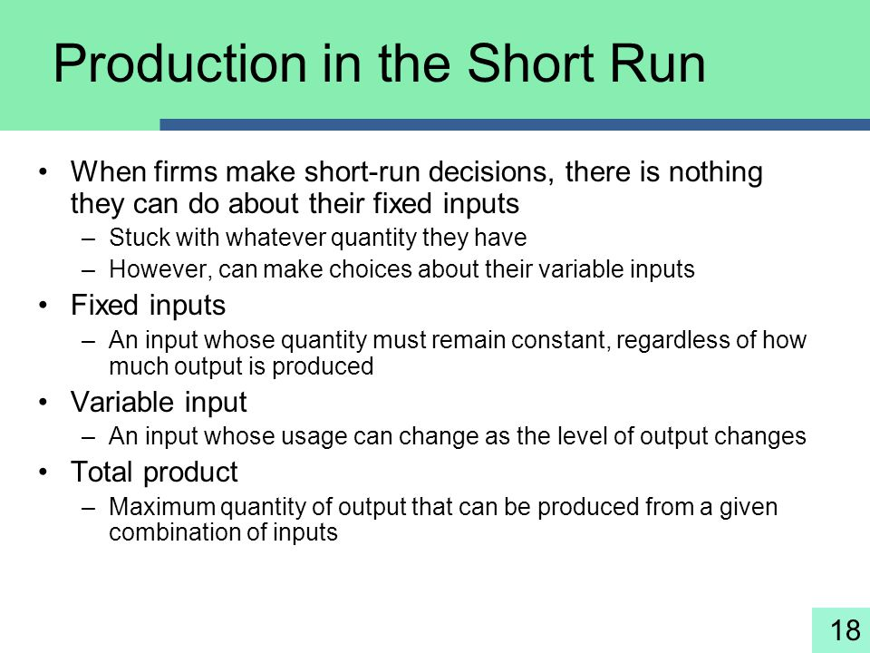 18 Production in the Short Run When firms make short-run decisions, there is nothing they can do about their fixed inputs –Stuck with whatever quantit