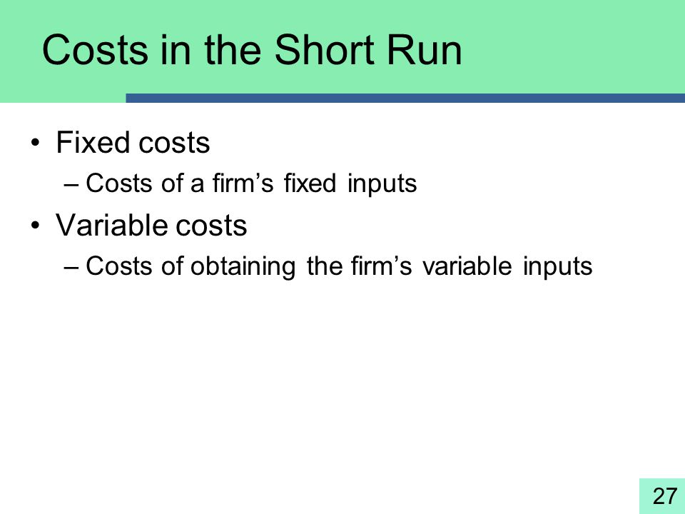 27 Costs in the Short Run Fixed costs –Costs of a firm's fixed inputs Variable costs –Costs of obtaining the firm's variable inputs