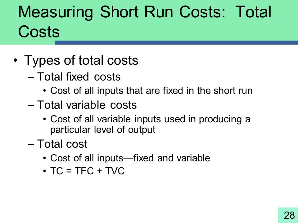 28 Measuring Short Run Costs: Total Costs Types of total costs –Total fixed costs Cost of all inputs that are fixed in the short run –Total variable c