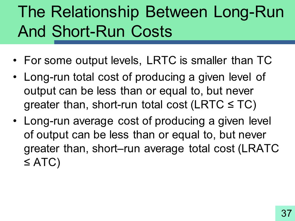 37 The Relationship Between Long-Run And Short-Run Costs For some output levels, LRTC is smaller than TC Long-run total cost of producing a given leve