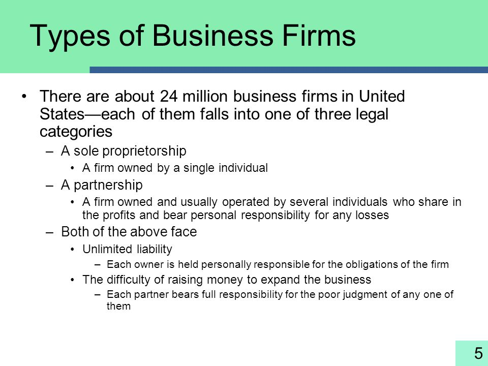 5 Types of Business Firms There are about 24 million business firms in United States—each of them falls into one of three legal categories –A sole pro