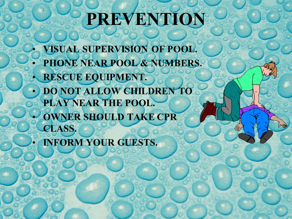 DROWNINGS Standing water of top of pool covers. Cover pumps or mesh safety cover.