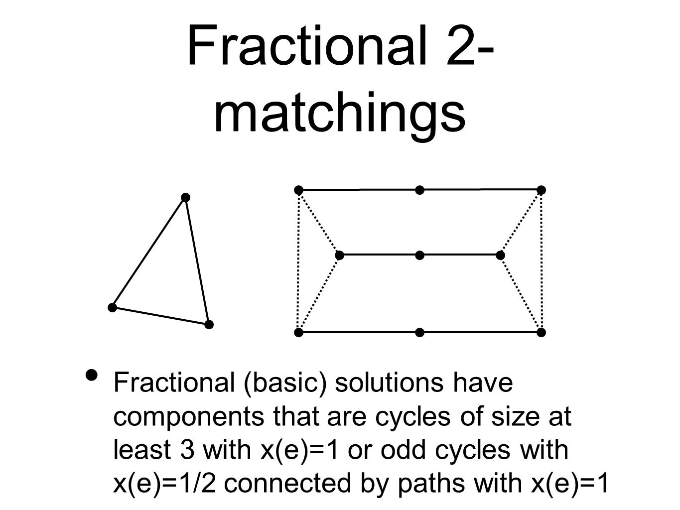 Fractional 2- matchings Fractional (basic) solutions have components that are cycles of size at least 3 with x(e)=1 or odd cycles with x(e)=1/2 connected by paths with x(e)=1