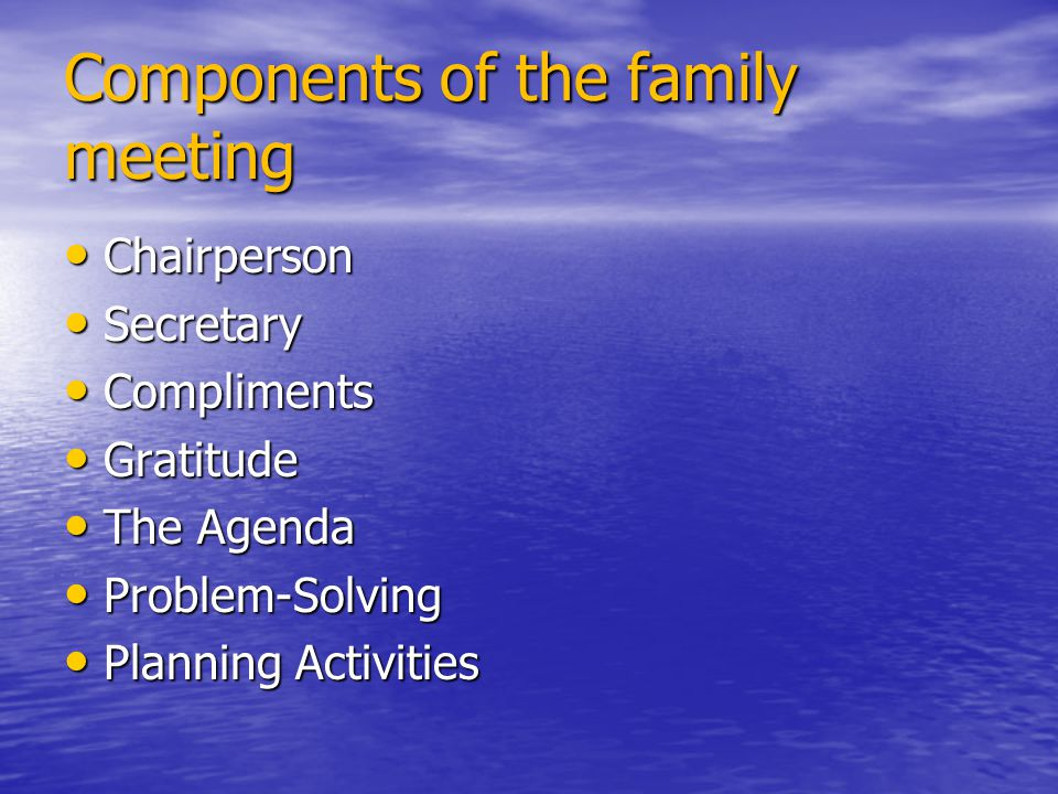Components of the family meeting Chairperson Chairperson Secretary Secretary Compliments Compliments Gratitude Gratitude The Agenda The Agenda Problem