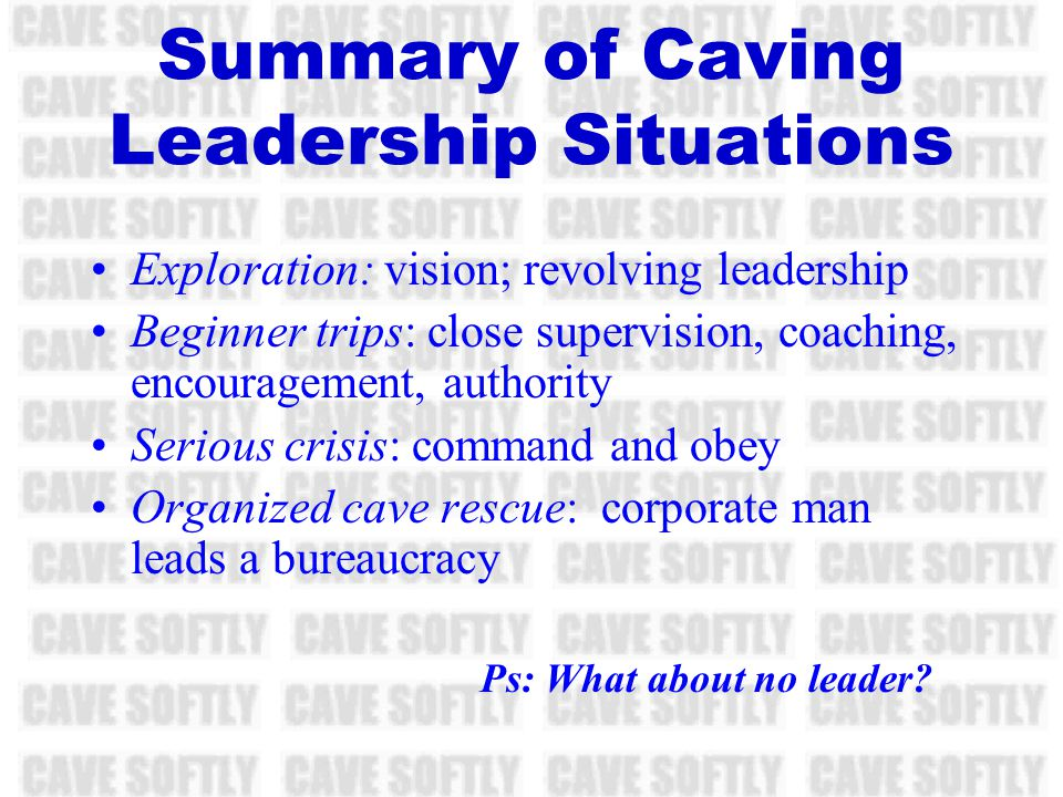 Review: The Organized Rescue The leader: … Is corporate man Spends hours in committee meetings Has numerous sub-officers Runs a bureaucracy Is dominated by the need to avoid injury to the rescuers