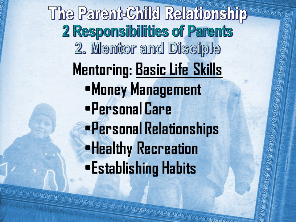 Mentoring: Basic Life Skills Money Management Personal Care Personal Relationships Healthy Recreation Establishing Habits