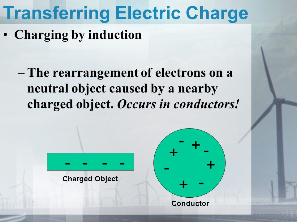 Transferring Electric Charge Charging by induction –The rearrangement of electrons on a neutral object caused by a nearby charged object. Occurs in co