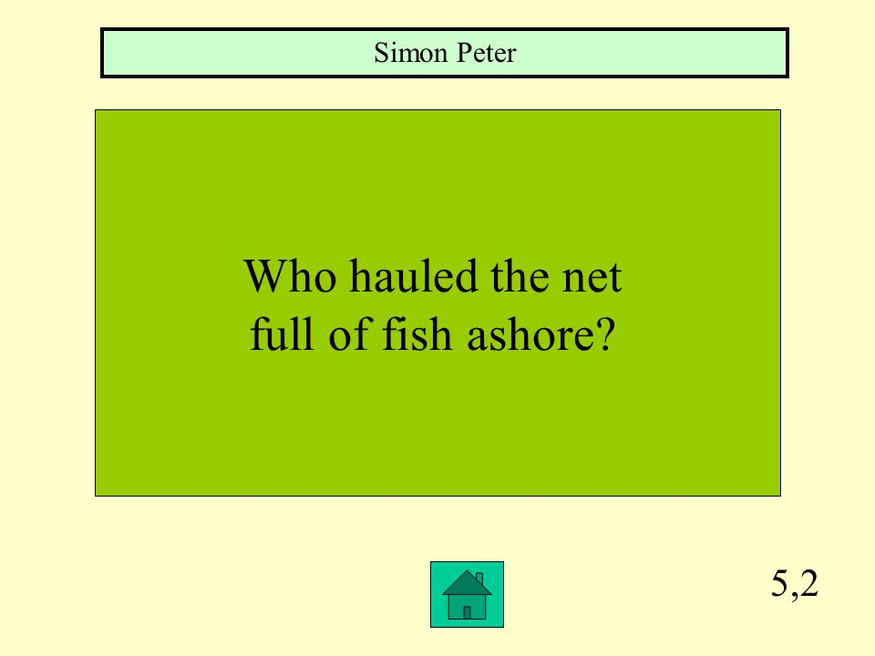 5,1 True or False: When the disciples reached the shore, there were so many fish in the net, that the net ripped.