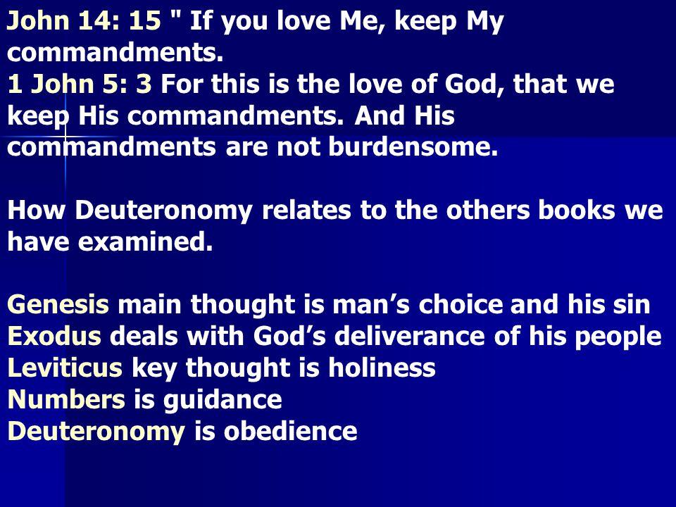 John 14: 15 If you love Me, keep My commandments.