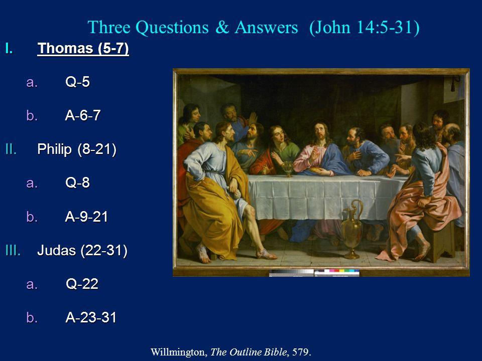 Three Questions & Answers (John 14:5-31) I.Thomas (5-7) a.Q-5 b.A-6-7 II.Philip (8-21) a.Q-8 b.A-9-21 III.Judas (22-31) a.Q-22 b.A-23-31 Willmington,