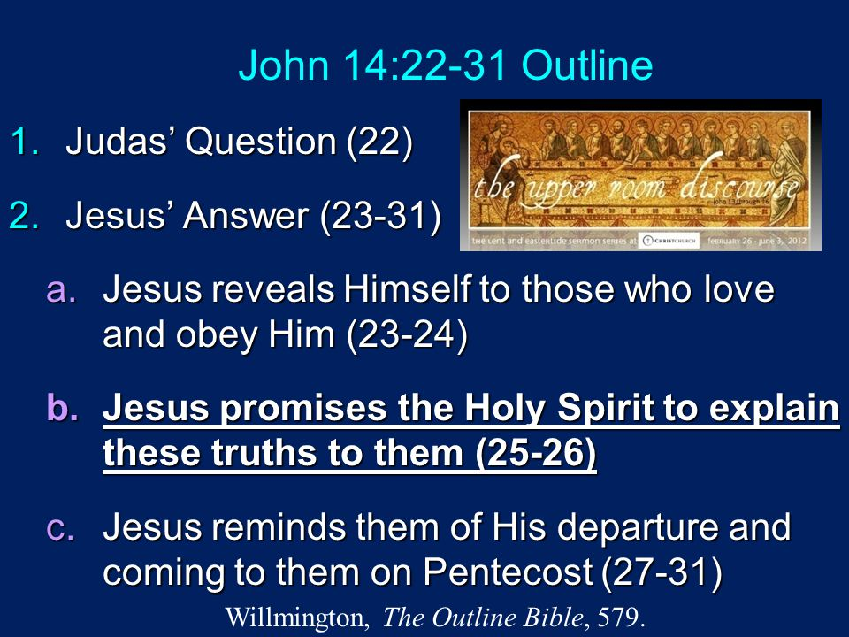 John 14:22-31 Outline 1.Judas' Question (22) 2.Jesus' Answer (23-31) a.Jesus reveals Himself to those who love and obey Him (23-24) b.Jesus promises t