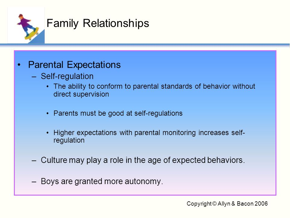 Copyright © Allyn & Bacon 2006 Parental Expectations –Self-regulation The ability to conform to parental standards of behavior without direct supervis