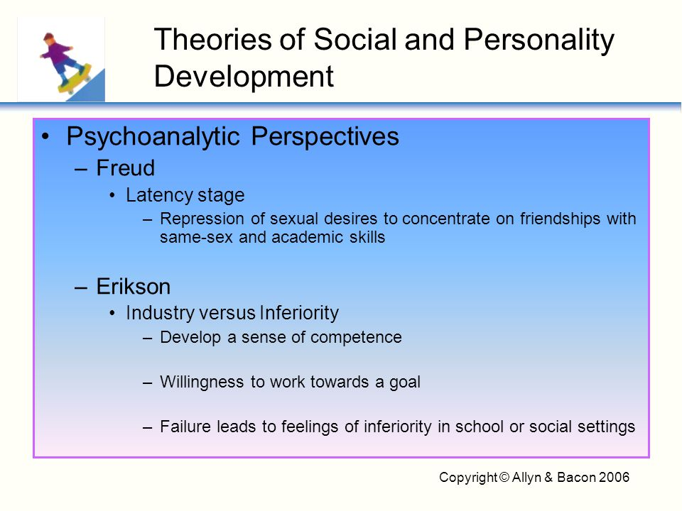 Copyright © Allyn & Bacon 2006 Social-Cognitive Perspectives –Child searches beyond appearances for deeper consistencies to explain and predict behavior –Moves from concrete to abstract descriptions of people –At 7 – 8, shift to inner traits and assume those traits appear consistently –Behavioral comparisons decline and psychological constructs increase with age Theories of Social and Personality Development
