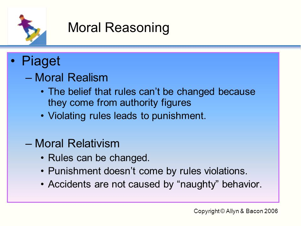 Copyright © Allyn & Bacon 2006 B.F.Skinner –Consequences teach children to obey moral rules.