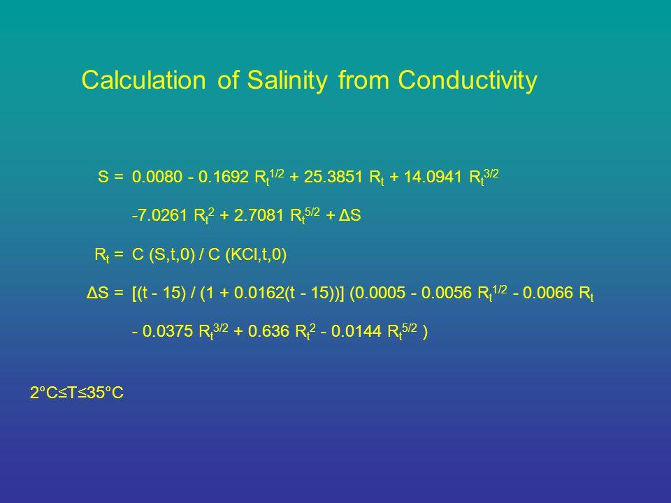 S =0.0080 - 0.1692 R t 1/2 + 25.3851 R t + 14.0941 R t 3/2 -7.0261 R t 2 + 2.7081 R t 5/2 + ΔS R t =C (S,t,0) / C (KCl,t,0) ΔS =[(t - 15) / (1 + 0.0162(t - 15))] (0.0005 - 0.0056 R t 1/2 - 0.0066 R t - 0.0375 R t 3/2 + 0.636 R t 2 - 0.0144 R t 5/2 ) 2°C≤T≤35°C Calculation of Salinity from Conductivity