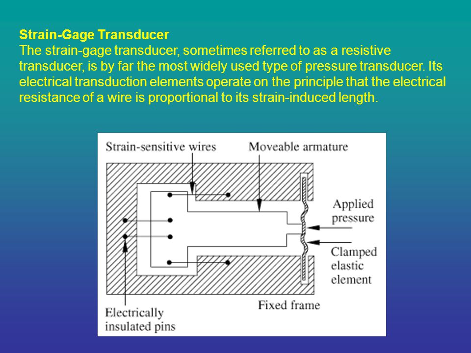 Strain-Gage Transducer The strain-gage transducer, sometimes referred to as a resistive transducer, is by far the most widely used type of pressure transducer.