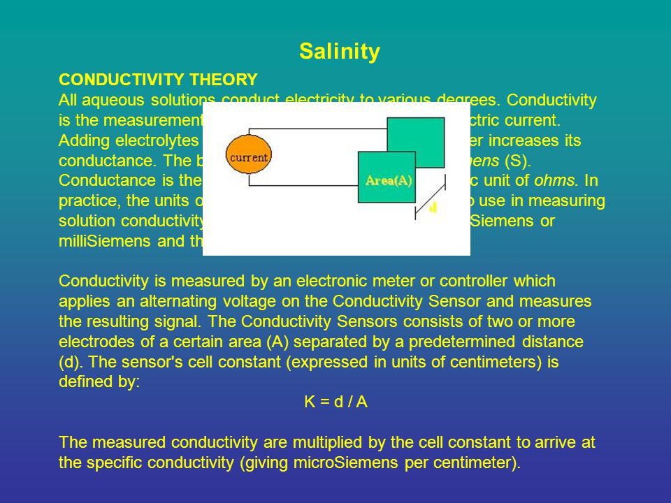 Salinity CONDUCTIVITY THEORY All aqueous solutions conduct electricity to various degrees.
