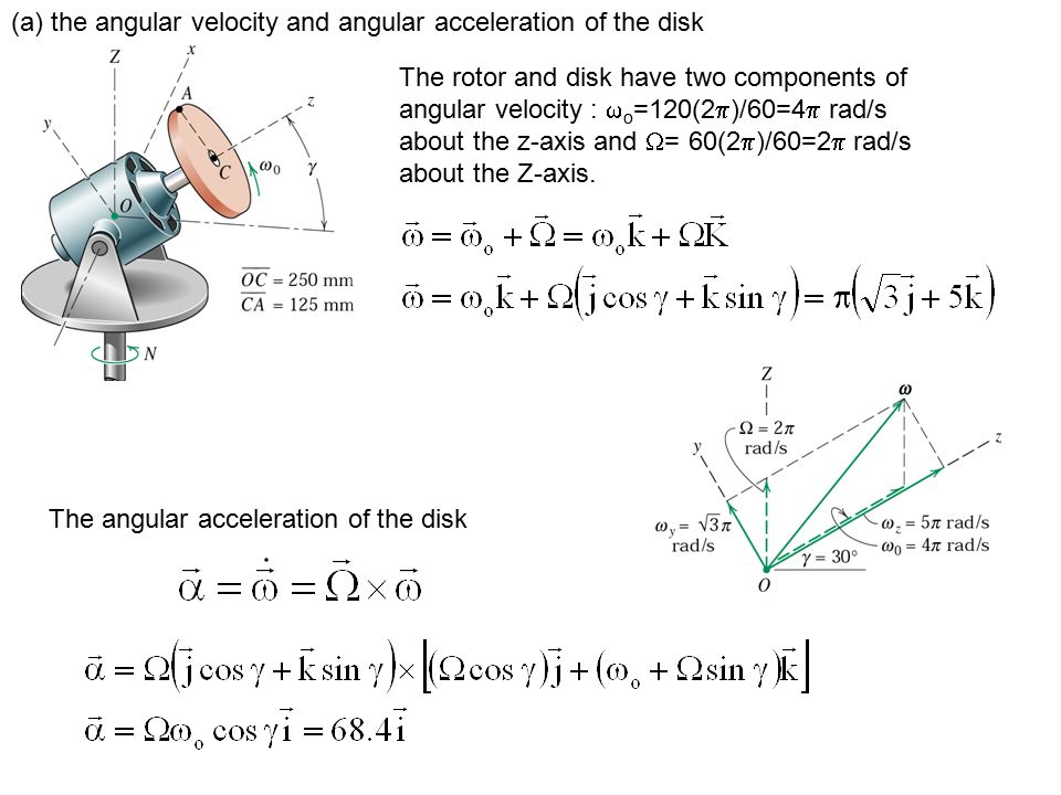 (a) the angular velocity and angular acceleration of the disk The rotor and disk have two components of angular velocity :  o =120(2  )/60=4  rad/s