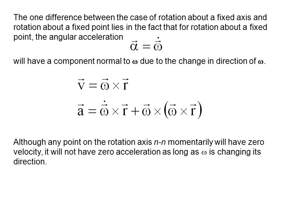 The one difference between the case of rotation about a fixed axis and rotation about a fixed point lies in the fact that for rotation about a fixed p