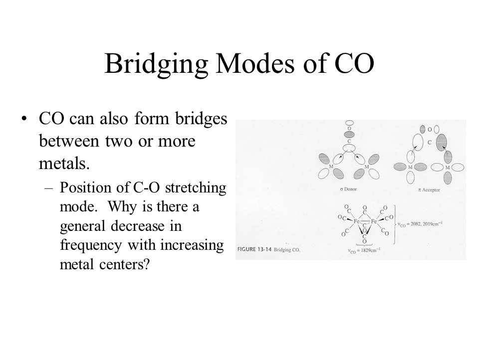 Bridging Modes of CO CO can also form bridges between two or more metals. –Position of C-O stretching mode. Why is there a general decrease in frequen