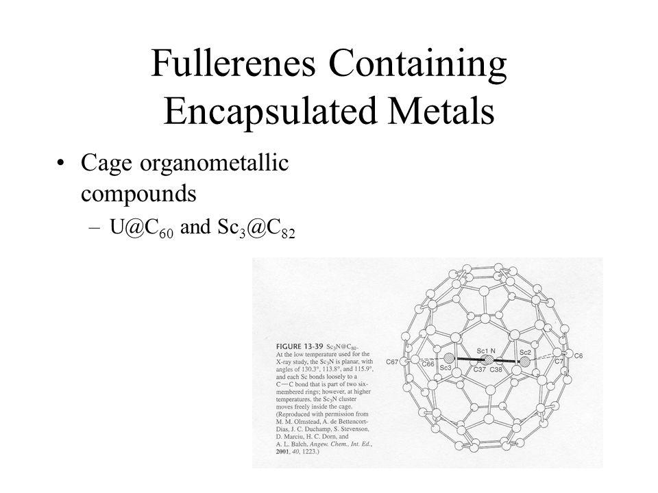 Fullerenes Containing Encapsulated Metals Cage organometallic compounds –U@C 60 and Sc 3 @C 82