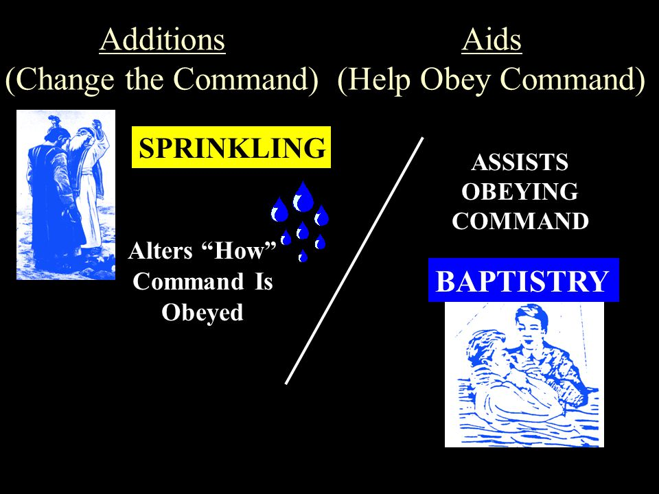 """Additions (Change the Command) SPRINKLING BAPTISTRY Aids (Help Obey Command) Alters """"How"""" Command Is Obeyed ASSISTS OBEYING COMMAND"""