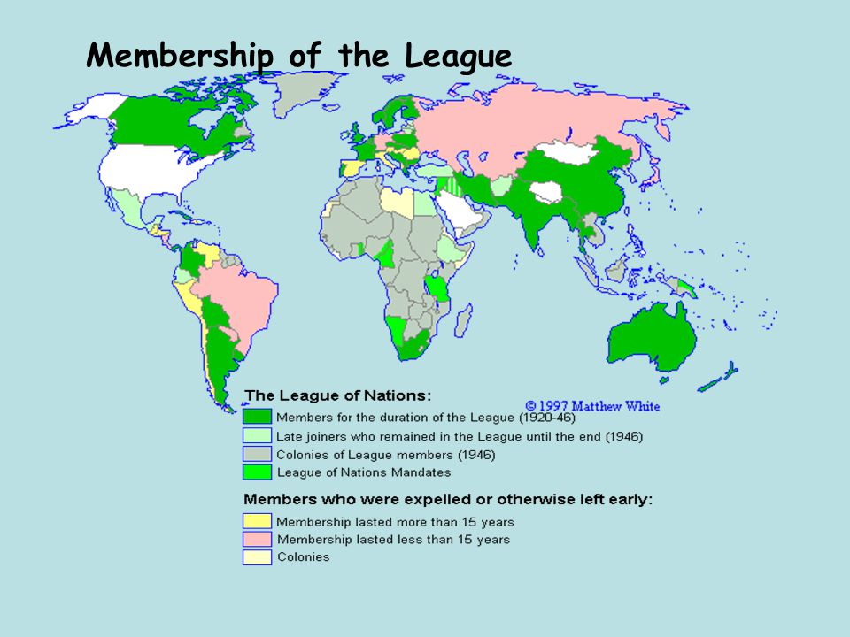 Organisation of the league of nations – summary The Council (9 members - made main decisions) The Assembly (all members – discussed matters) The Secretariat (carried out the work)