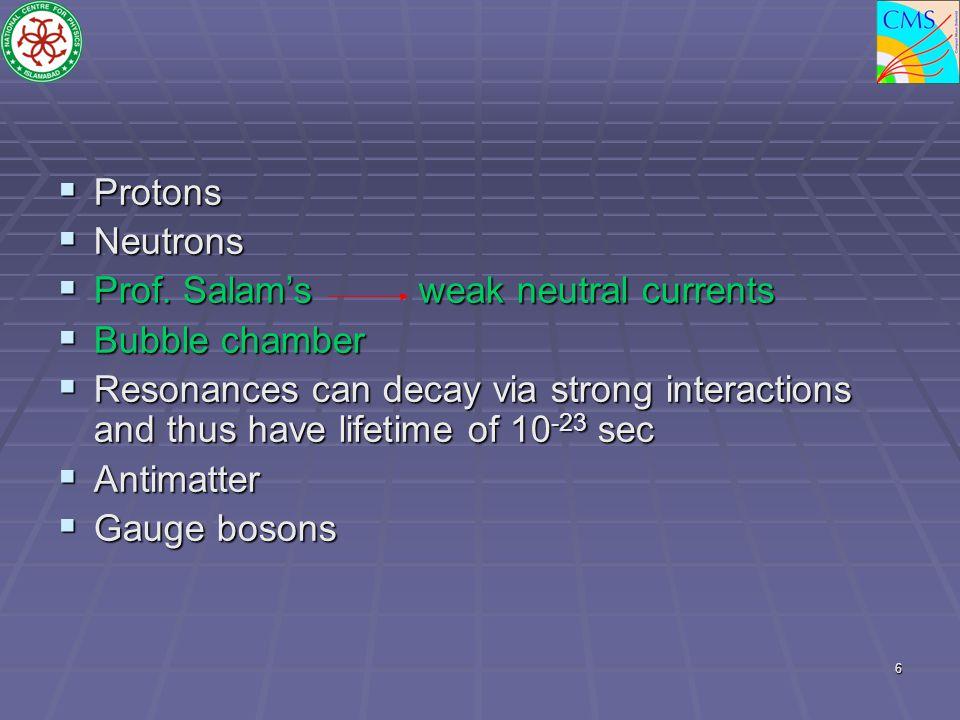  Protons  Neutrons  Prof.