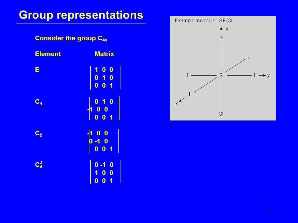 1 Group representations Consider the group C 4v ElementMatrix E1 0 0 0 1 0 0 0 1 C 4 0 1 0 -1 0 0 0 0 1 C 2 -1 0 0 0 -1 0 0 0 1 C 4 0 -1 0 1 0 0 0 0 1 Example molecule: SF 5 Cl S F F F F Cl F x y z 3