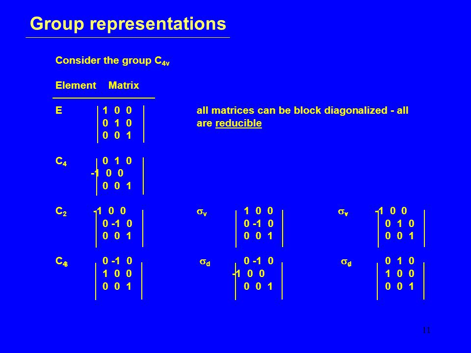 11 Group representations Consider the group C 4v Element Matrix E1 0 0all matrices can be block diagonalized - all 0 1 0 are reducible 0 0 1 C 4 0 1 0 -1 0 0 0 0 1 C 2 -1 0 0  v 1 0 0  v -1 0 0 0 -1 00 -1 00 1 0 0 0 10 0 10 0 1 C 4 0 -1 0  d 0 -1 0  d 0 1 0 1 0 0 -1 0 01 0 0 0 0 10 0 10 0 1 3