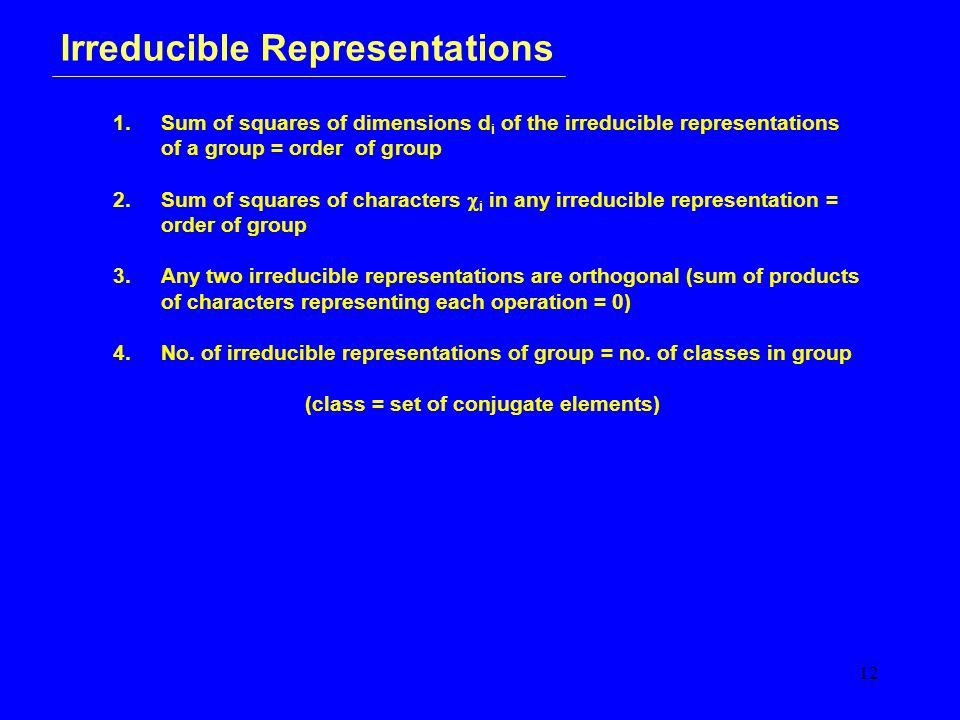 12 Irreducible Representations 1.
