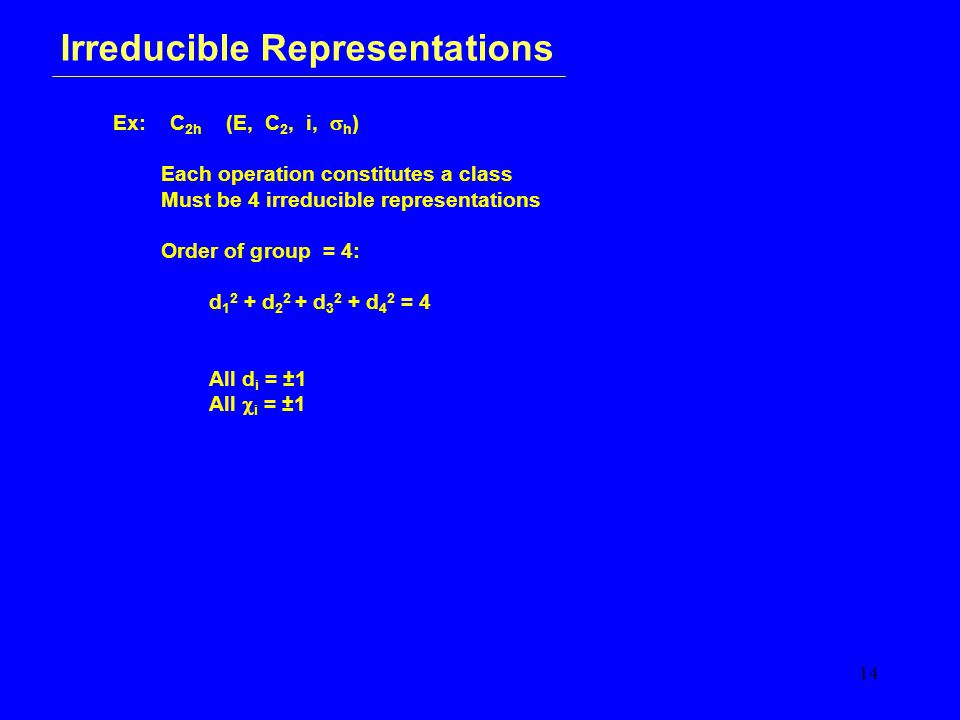 14 Irreducible Representations Ex: C 2h (E, C 2, i,  h ) Each operation constitutes a class Must be 4 irreducible representations Order of group = 4: d 1 2 + d 2 2 + d 3 2 + d 4 2 = 4 All d i = ±1 All  i = ±1