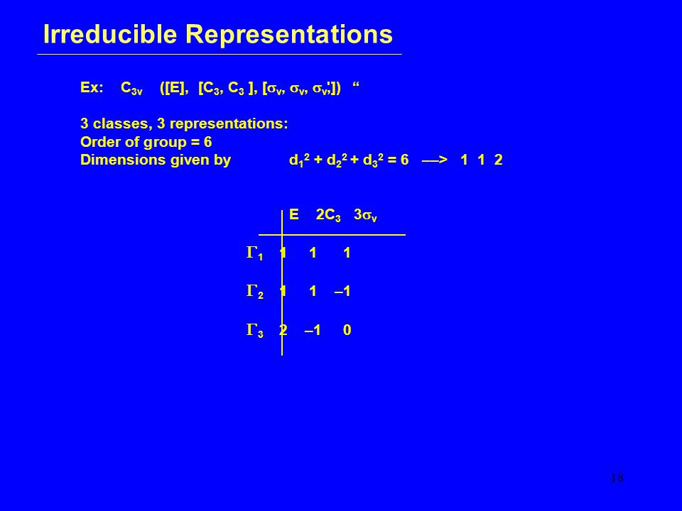 18 Irreducible Representations Ex: C 3v ([E], [C 3, C 3 ], [  v,  v,  v,]) 3 classes, 3 representations: Order of group = 6 Dimensions given by d 1 2 + d 2 2 + d 3 2 = 6 ––> 1 1 2 E 2C 3 3  v  1 1 1 1  2 1 1 –1  3 2 –1 0