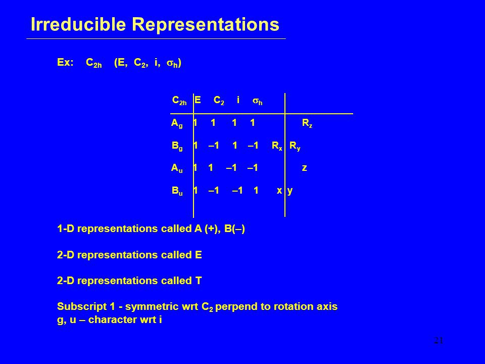 21 Irreducible Representations Ex: C 2h (E, C 2, i,  h ) C 2h E C 2 i  h A g 1 1 1 1 R z B g 1 –1 1 –1 R x R y A u 1 1 –1 –1 z B u 1 –1 –1 1 x y 1-D representations called A (+), B(–) 2-D representations called E 2-D representations called T Subscript 1 - symmetric wrt C 2 perpend to rotation axis g, u – character wrt i