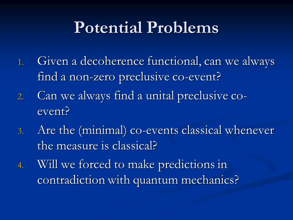 Potential Problems 1.