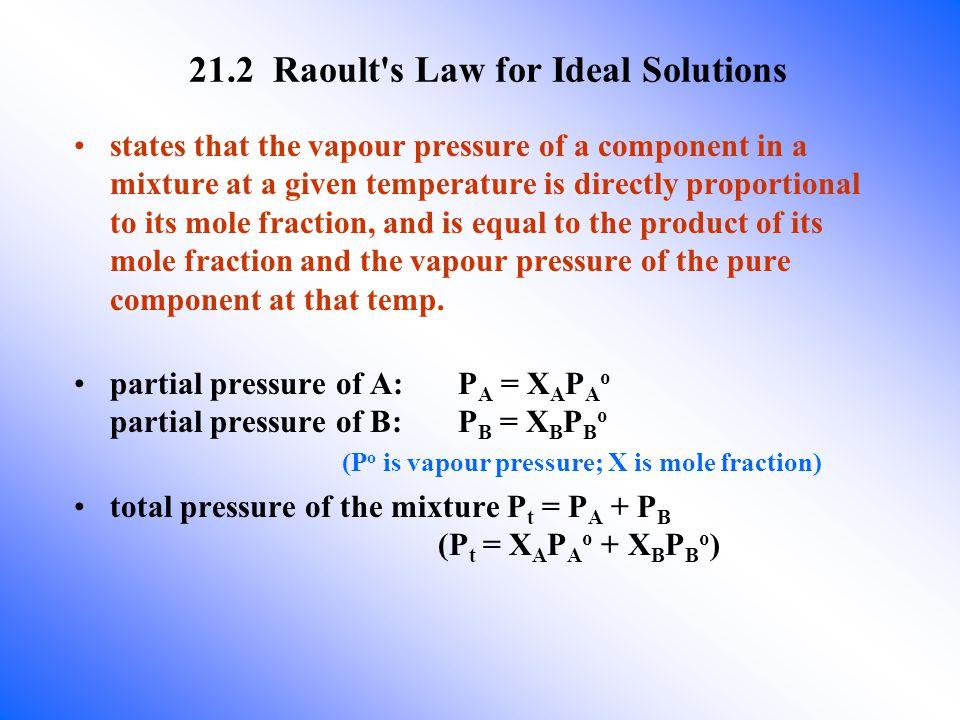 Composition of liquid: X A = 0.5 ; X B = 0.5 Liquid contains 1 mol A ( )and 1 mol B ( ) P A o =10kPa ;P B o = 30kPa Composition of vapour.