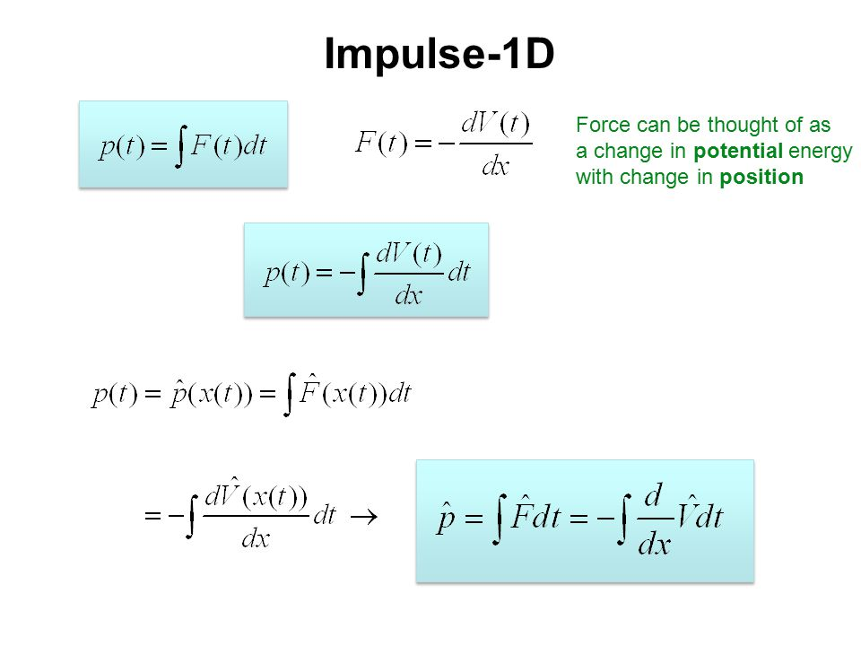 Impulse-1D Force can be thought of as a change in potential energy with change in position