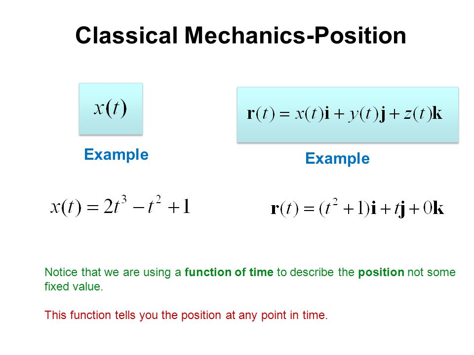 Classical Mechanics-Position Example Notice that we are using a function of time to describe the position not some fixed value.