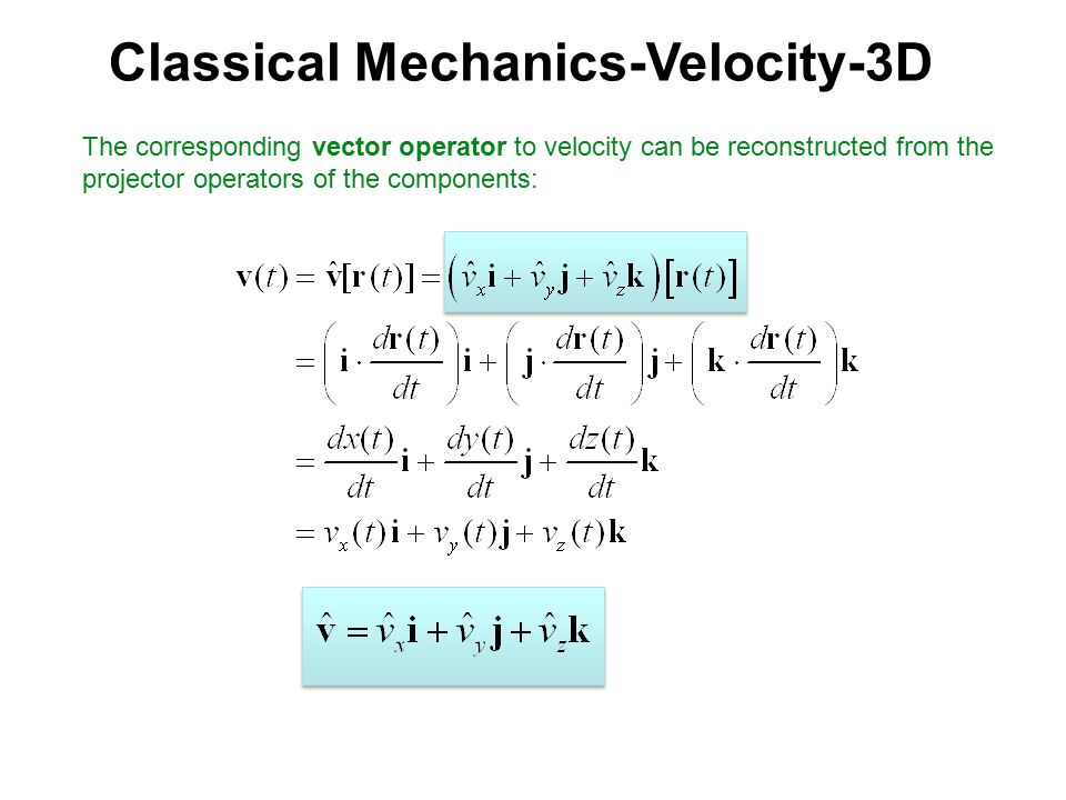 The corresponding vector operator to velocity can be reconstructed from the projector operators of the components:
