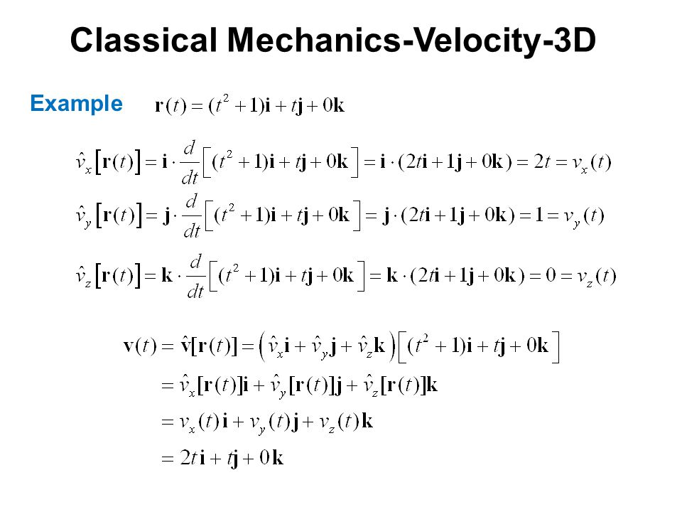 Classical Mechanics-Velocity-3D Example