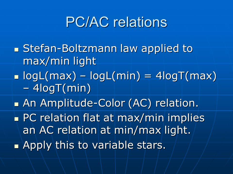 PC/AC relations Stefan-Boltzmann law applied to max/min light Stefan-Boltzmann law applied to max/min light logL(max) – logL(min) = 4logT(max) – 4logT(min) logL(max) – logL(min) = 4logT(max) – 4logT(min) An Amplitude-Color (AC) relation.