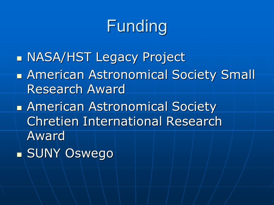 Funding NASA/HST Legacy Project NASA/HST Legacy Project American Astronomical Society Small Research Award American Astronomical Society Small Research Award American Astronomical Society Chretien International Research Award American Astronomical Society Chretien International Research Award SUNY Oswego SUNY Oswego