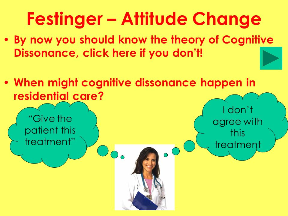 Festinger – Attitude Change By now you should know the theory of Cognitive Dissonance, click here if you don't! When might cognitive dissonance happen