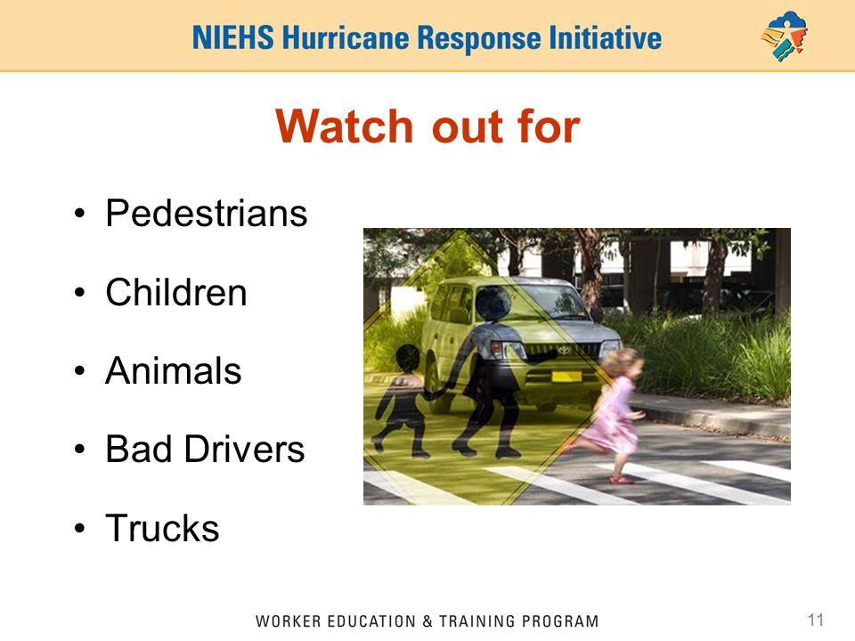 11 Watch out for Pedestrians Children Animals Bad Drivers Trucks